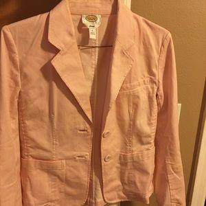 Talbots pink seersucker spring jacket